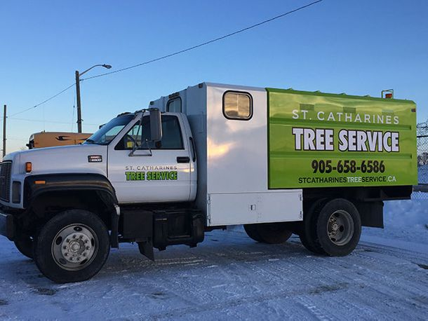 St Catharines Tree Service truck at job site 5