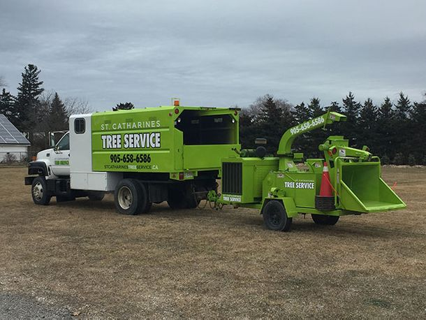 St Catharines Tree Service truck at job site 6